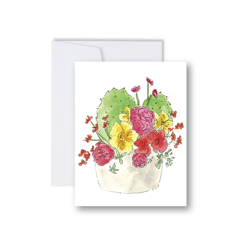 Cactus and Floral Bouquet Note Card