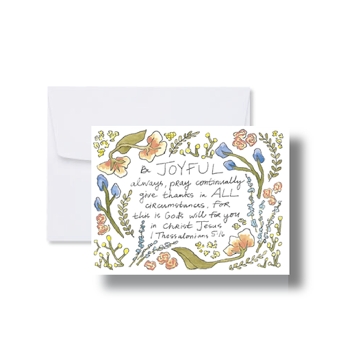 1 Thessalonians Verse with Florals - Note Cards