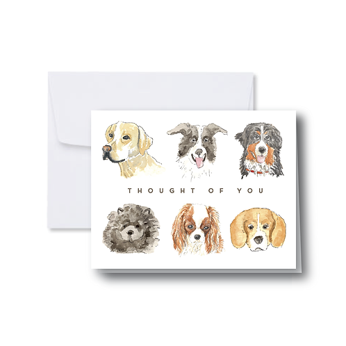 """Thought of You"" Dogs Note Card"