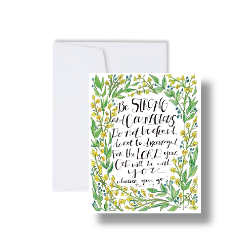 Joshua 1:9 Verse with Florals - Note Cards