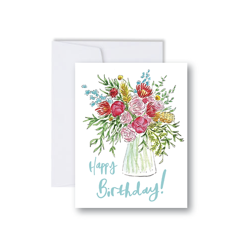 Floral Happy Birthday Bouquet Note Card