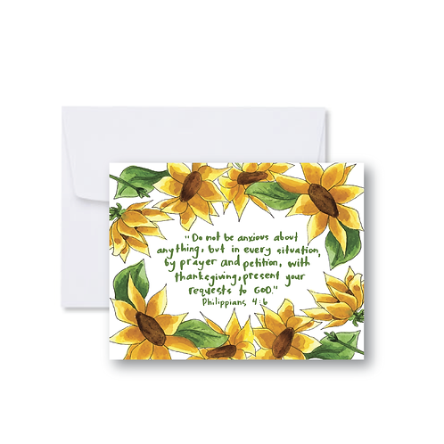 Sunflower Philippians 4:6 Scripture Note Card