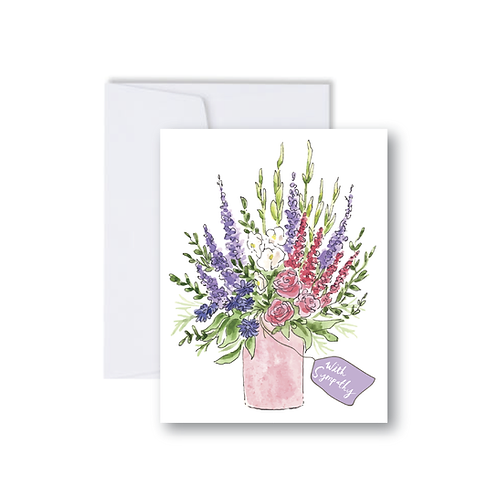 With Sympathy Floral Bouquet Note Card