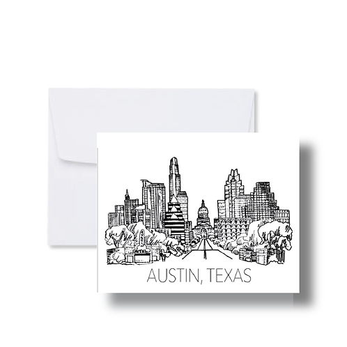 Austin Skyline Black and White Drawing - Note Cards