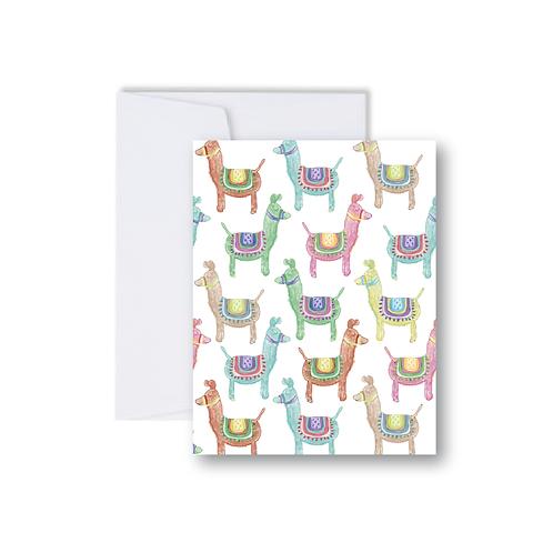 Repeating Llamas Note Card