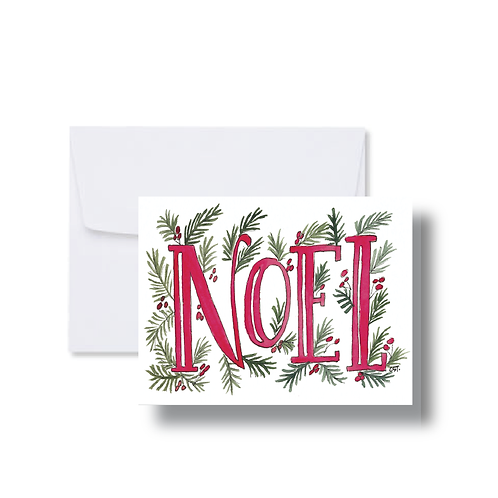 Noel with Greenery - Note Cards