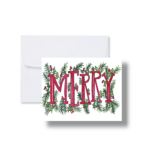 Merry with Greenery - Note Cards
