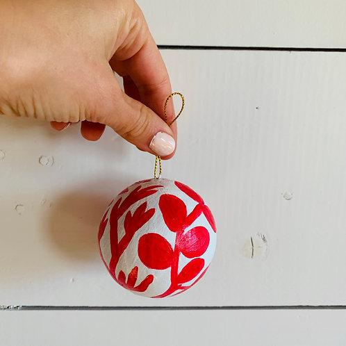 White & Red Ornament (#7)