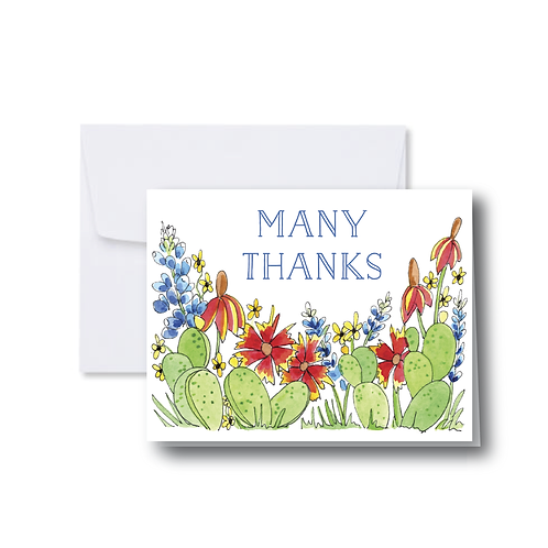 Many Thanks Cactus and Wildflowers Note Card
