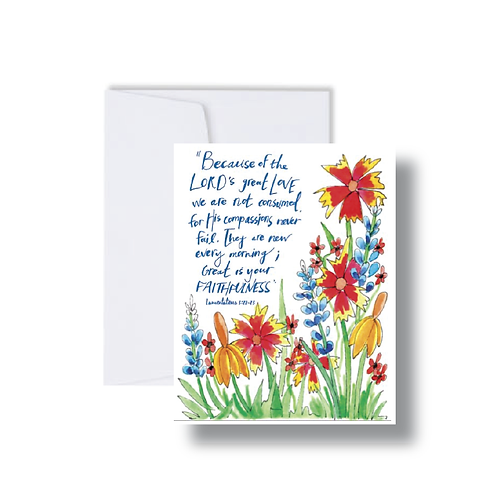Lamentations Verse with Florals - Note Cards