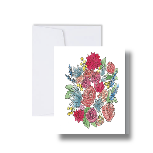 Bright Cluster Floral Design - Note Cards