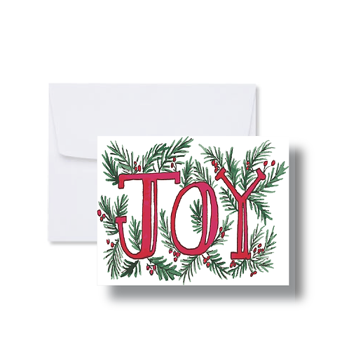Joy with Greenery - Note Cards
