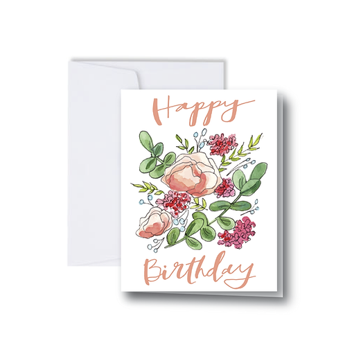Happy Birthday Florals Note Card