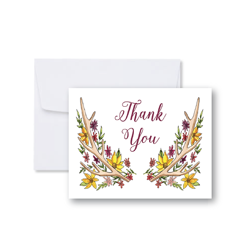 Antler and Sunflower Thank You Note Card