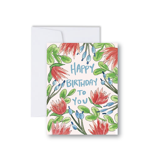 Happy Birthday Floral Border Note Card