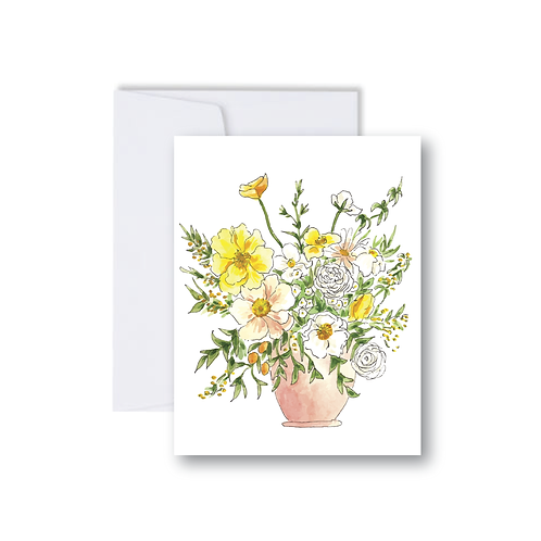 Blush Peonies Floral Bouquet Note Card
