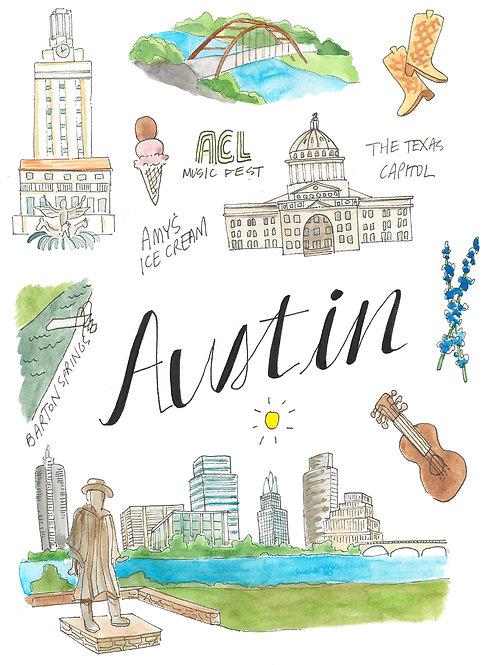 Austin Map Print 8.5 x 11