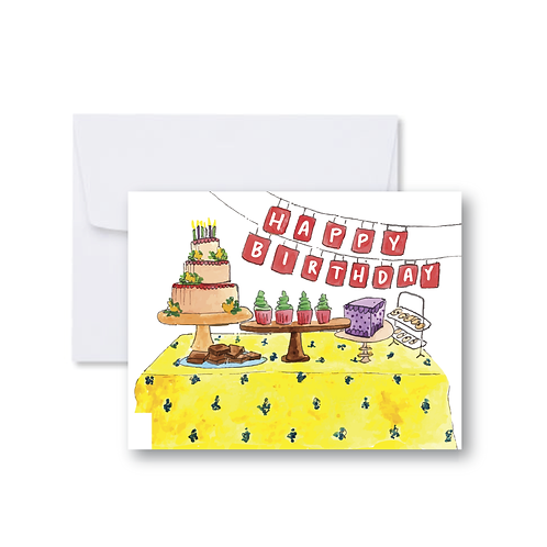 Happy Birthday Cake Table Note Card