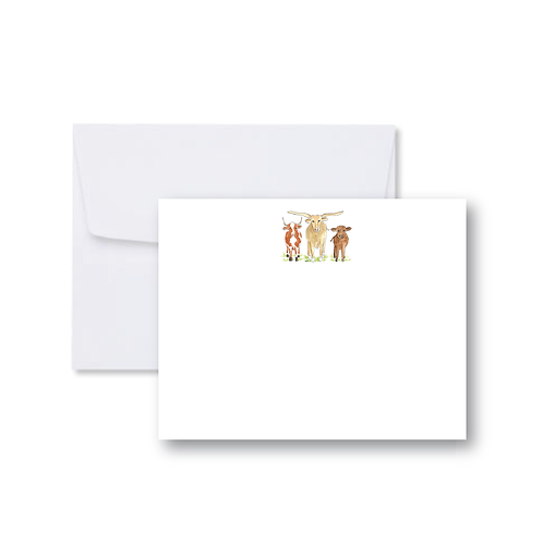 Three Cows FLAT Card Pack (8 Cards + Envelopes)