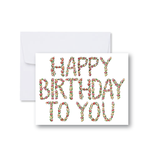Happy Birthday Floral Letters Note Card