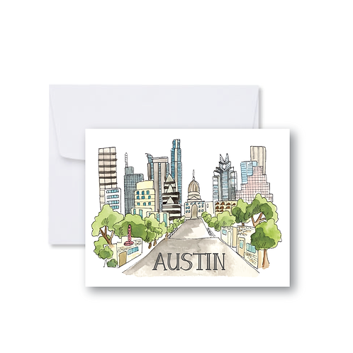 South Congress Skyline - Note Cards