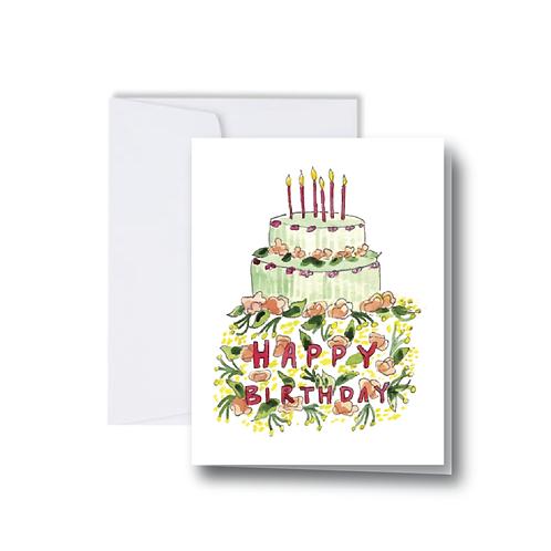 Happy Birthday Cake Note Card