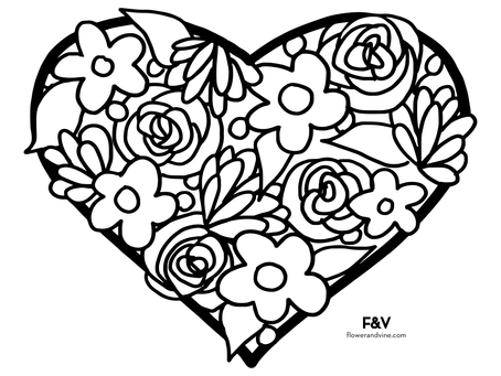 Valentines Bouquet Coloring Page!