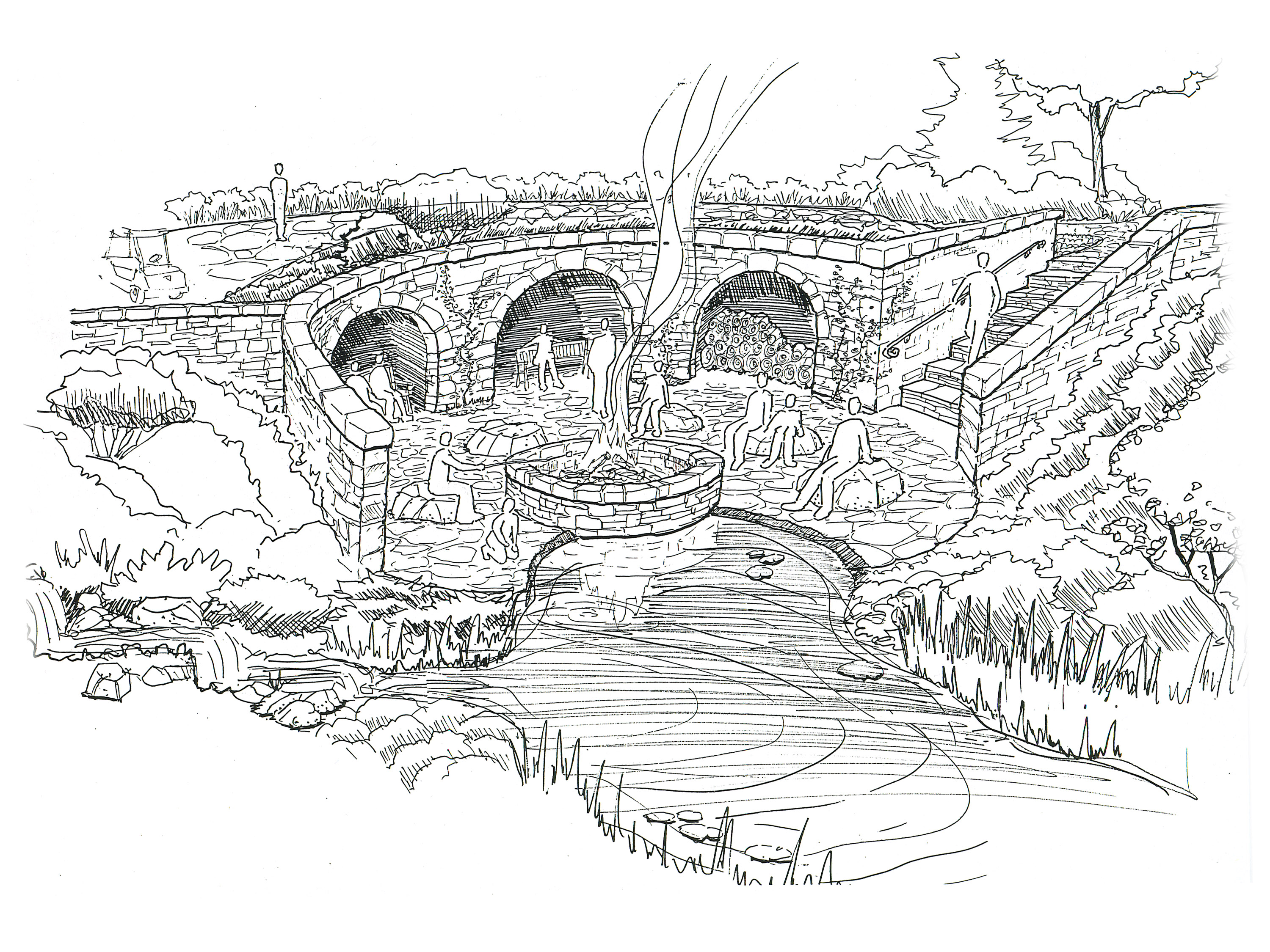 Sketch of Firepit at Water Feature
