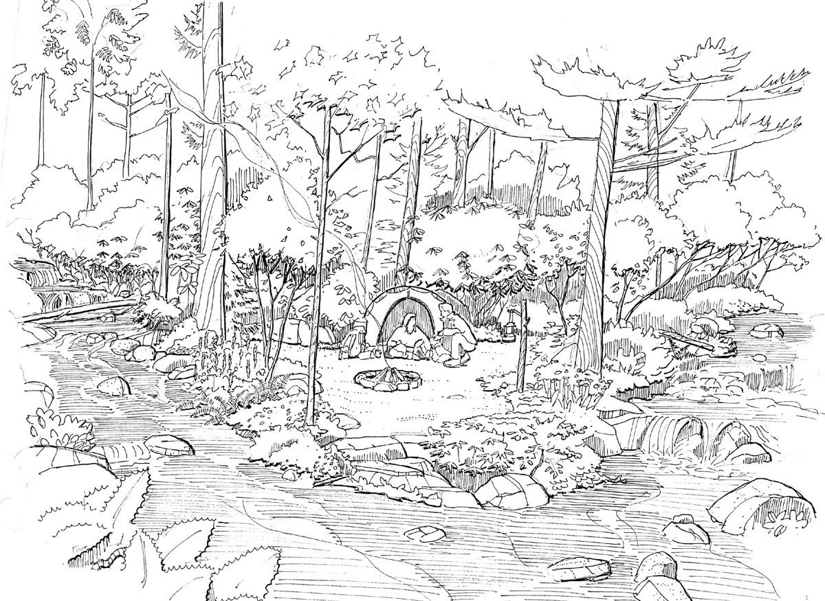 Streamside Campsite Sketch
