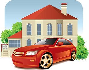 Casa Y Coche Ilustración Del Vector