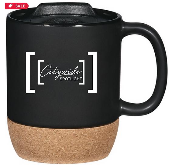 Cork Base Ceramic Mug w/ Lid - 14 oz.
