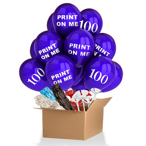 100 Custom Printed Balloons with Accessories