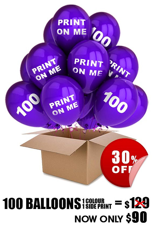 100 Custom Printed Balloons