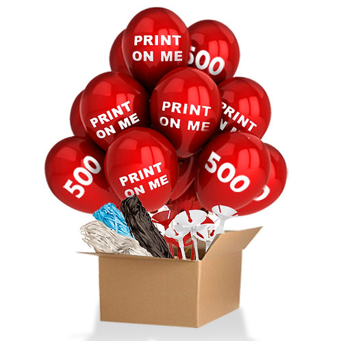 500 Custom Printed Balloons with Accessories