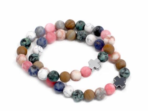 2set Gemstone Friendship Bracelets- Harmony- Rainbow Gemstone