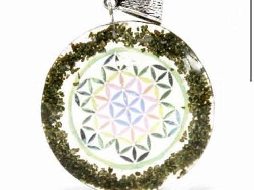Orgonite Power Pendant- Greenstone Mandala