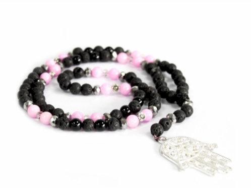Hamse/Pink & Black- Gemstone Neckless