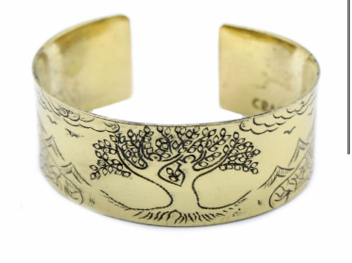 Brass Tibetan Mantra Bracelet- Tree of life