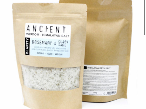 Himalayan Bath Salt blend 500g Clarity / Rosemary and Clary Sage