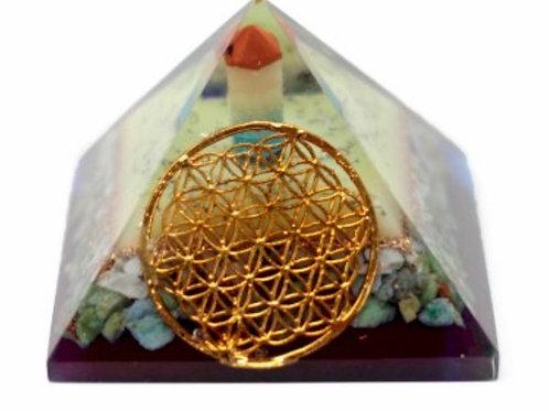 Lrg Organite Pyramid- Flower of life