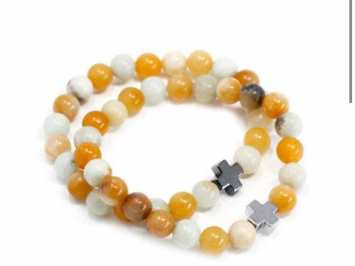 2Set Gemstone Friendship Bracelets- Loyalty- Amazonite & Yellow Jasper