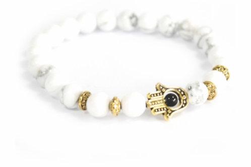 Gold Hamsa/ White Stone Gemstone