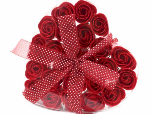 24 Soap Flower Heart Box, Red Roses