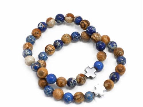 2X Set of 2 Gemstones Friendship Bracelets- Sodalite & Picturestone