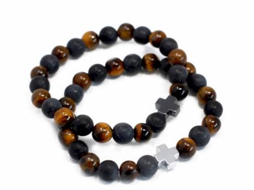 2SetGemstone Friendship Bracelets-Power-Tiger Eye & Blackstone
