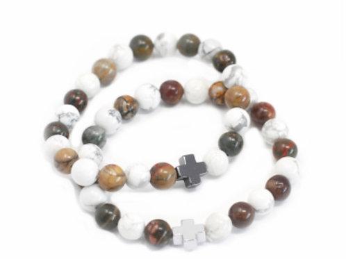 Set2 Gemstone Friendship Bracelet- Piece- Picasso Jasper & White Howlite