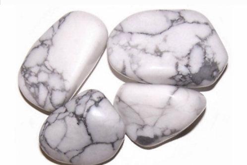 L Tumble Stone- Howlite, White