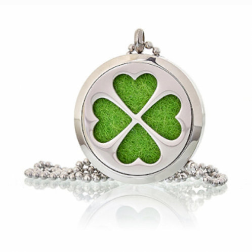 Aromatherapy Diffuser Necklace- Four Leaf Clover 30mm