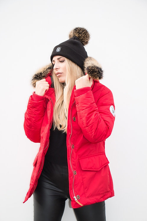 Women Red Parka