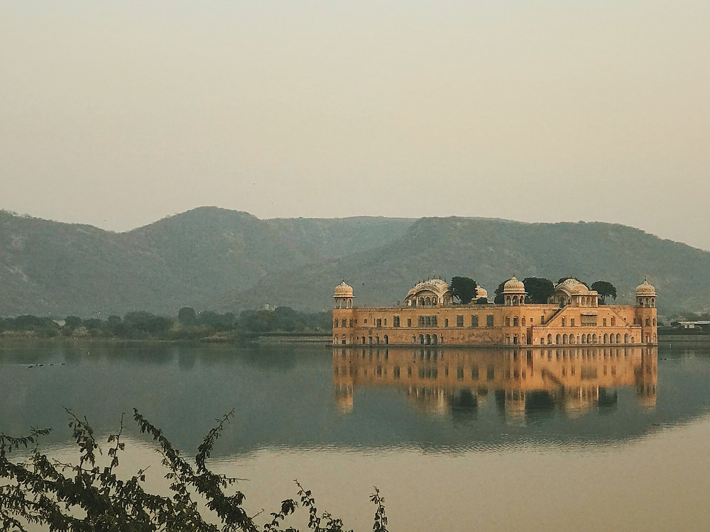 Jal Mahal in the middle of Man Sagar Lake, Jaipur, Rajasthan, India